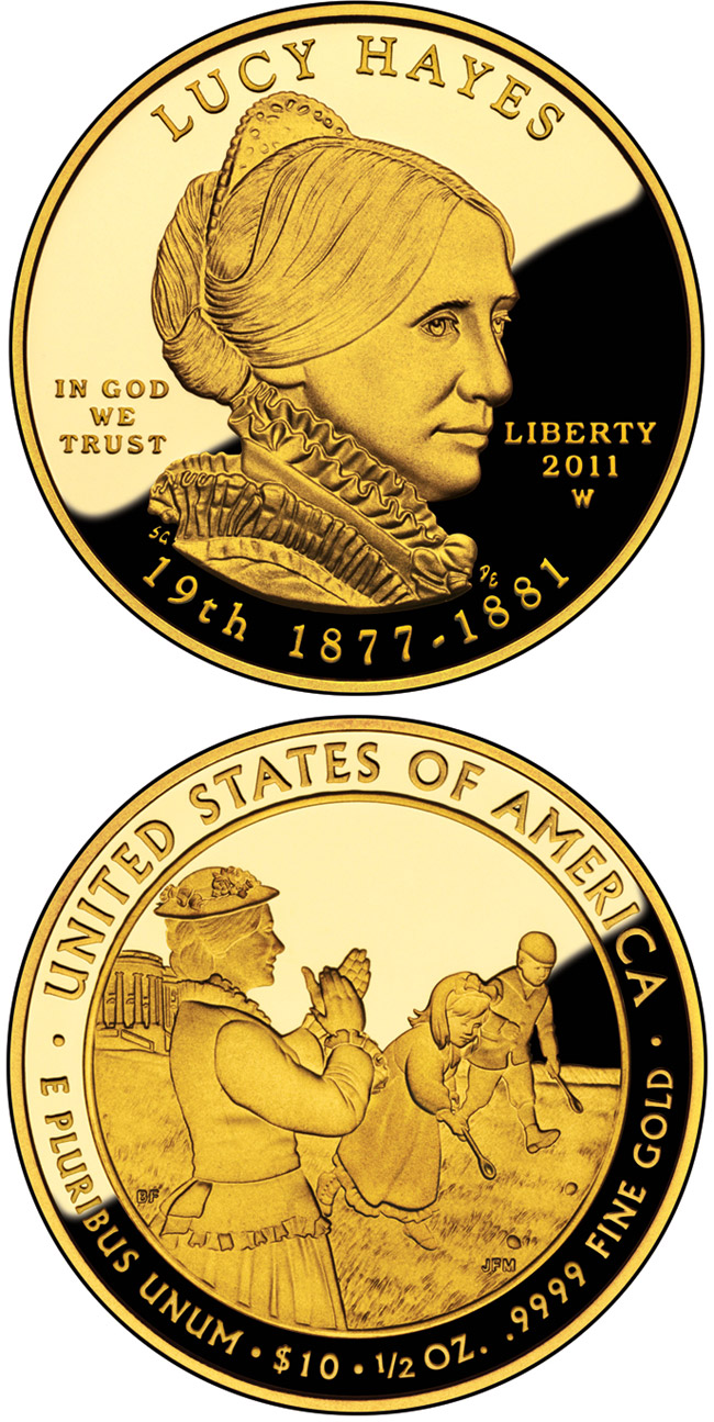 Image of Lucy Hayes  – 10 dollar coin USA 2011.  The Gold coin is of Proof, BU quality.