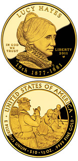 10 dollar coin Lucy Hayes  | USA 2011