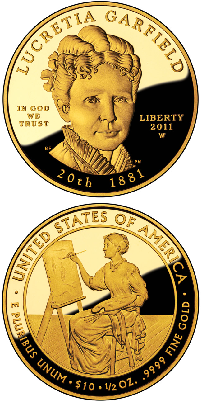 Image of 10 dollars coin – Lucretia Garfield  | USA 2011.  The Gold coin is of Proof, BU quality.
