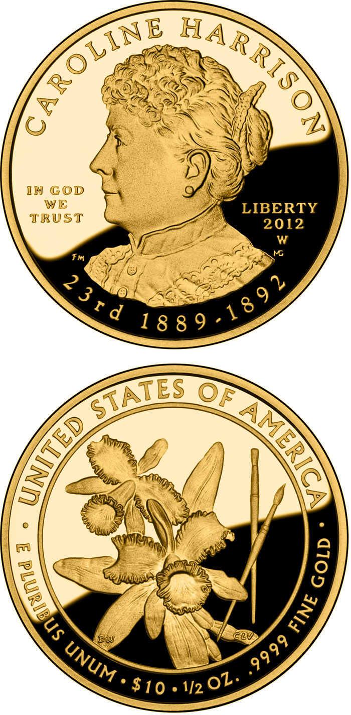Image of 10 dollars coin – Caroline Harrison  | USA 2012.  The Gold coin is of Proof, BU quality.