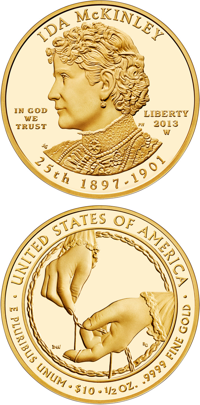 Image of 10 dollars coin - Ida McKinley  | USA 2013.  The Gold coin is of Proof, BU quality.