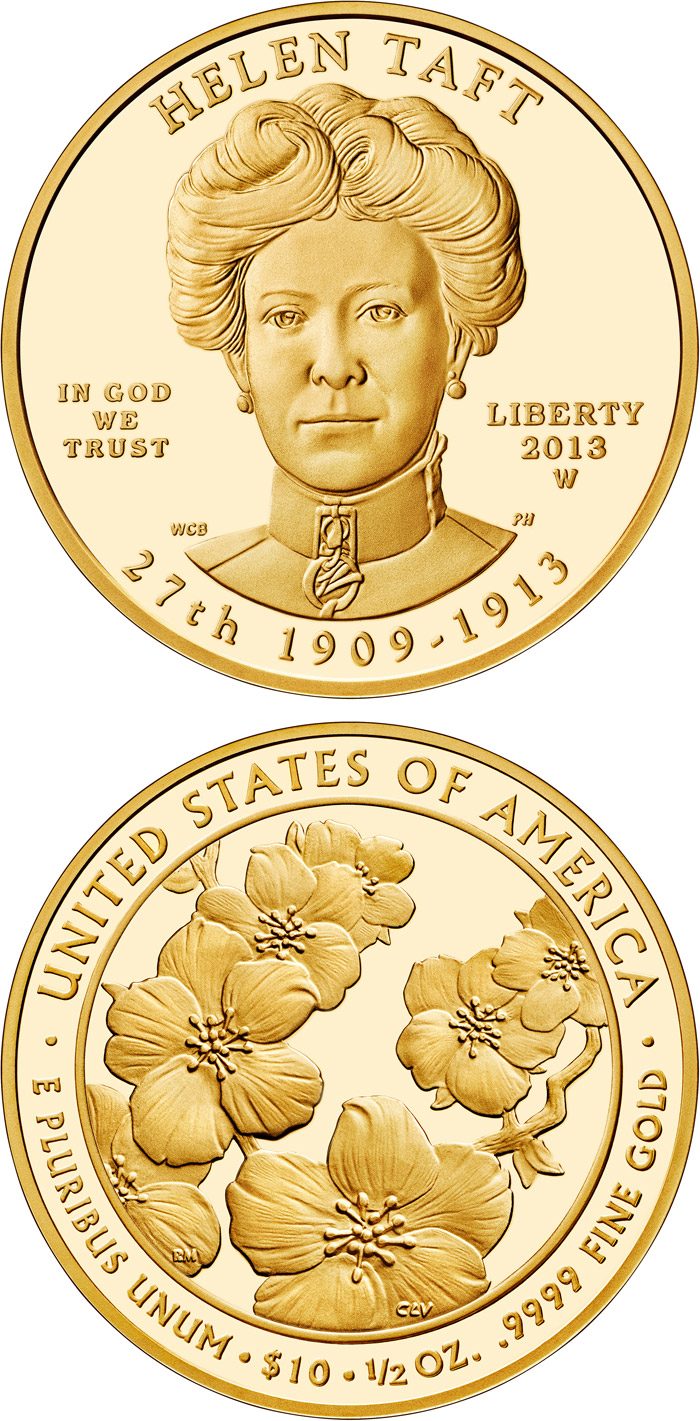 Image of 10 dollars coin – Helen Taft  | USA 2013.  The Gold coin is of Proof, BU quality.
