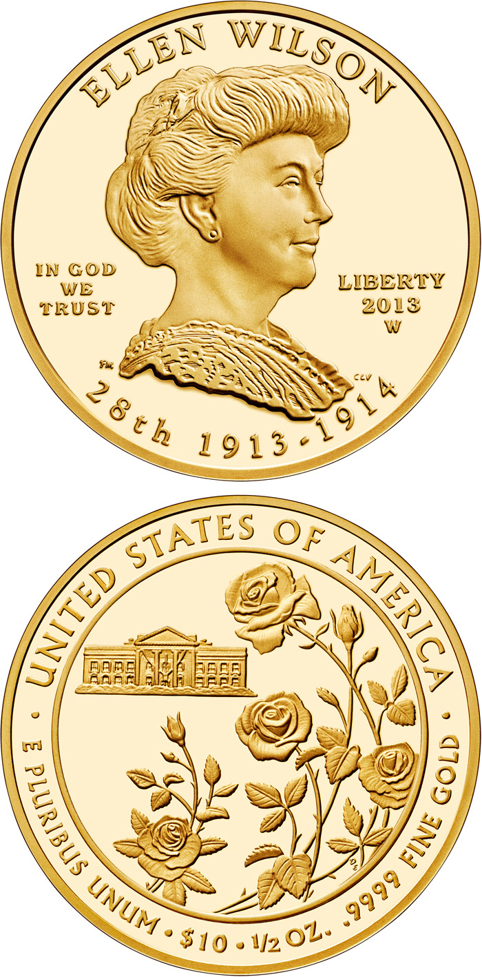 Image of 10 dollars coin - Ellen Wilson | USA 2013.  The Gold coin is of Proof, BU quality.