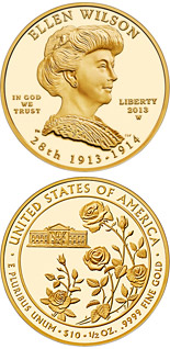 10 dollar coin Ellen Wilson | USA 2013