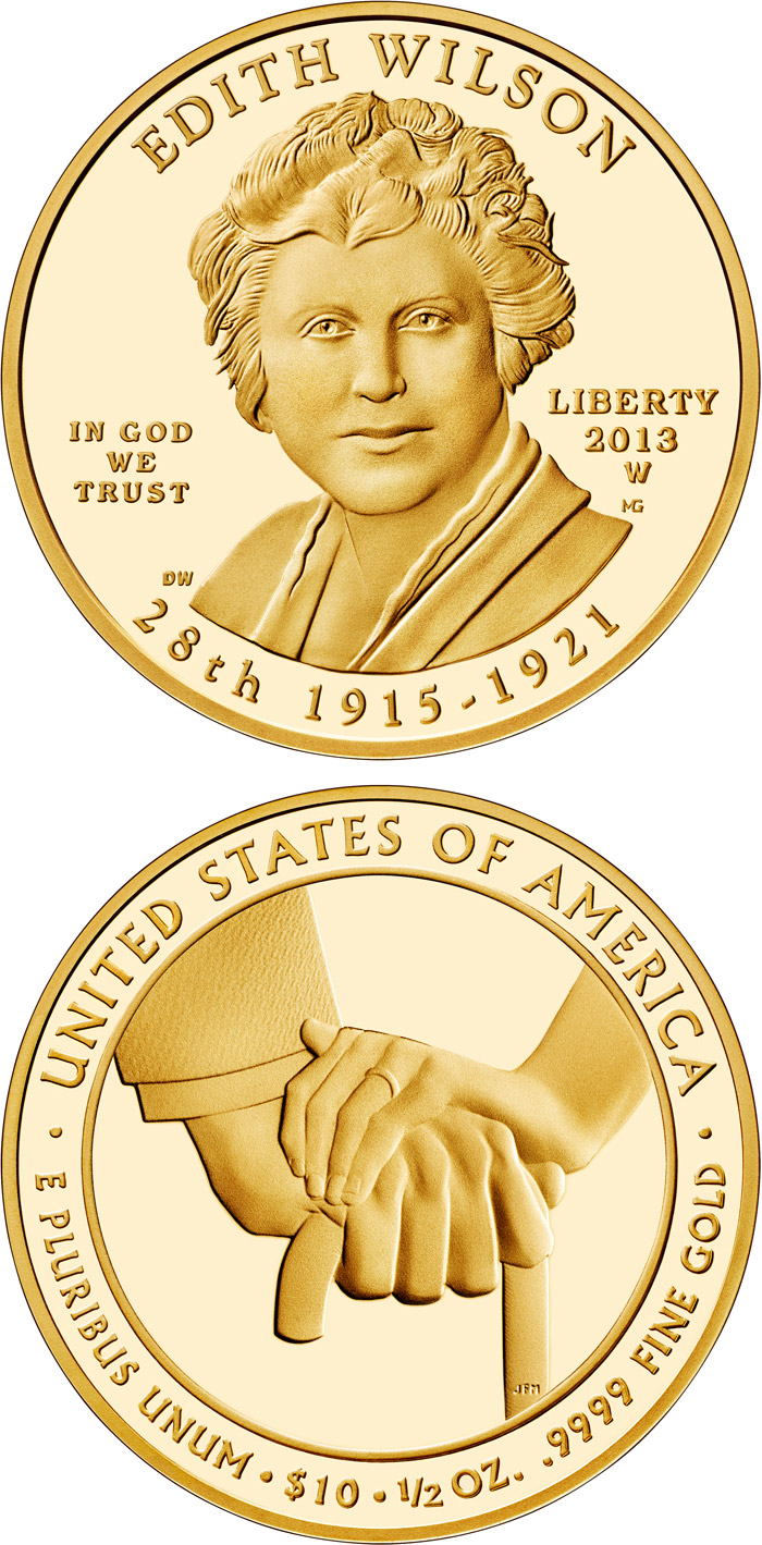 Image of 10 dollars coin - Edith Wilson  | USA 2013.  The Gold coin is of Proof, BU quality.