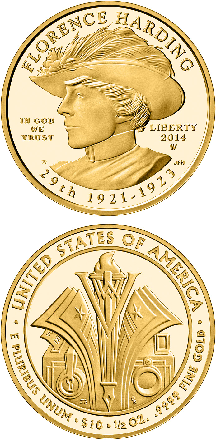 Image of 10 dollars coin - Florence Harding  | USA 2014.  The Gold coin is of Proof, BU quality.