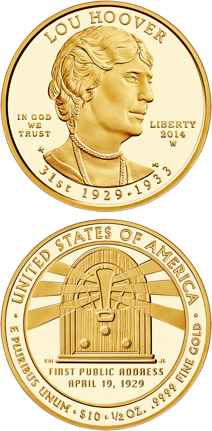 Image of Lou Hoover  – 10 dollar coin USA 2014.  The Gold coin is of Proof, BU quality.