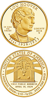 10 dollar coin Lou Hoover  | USA 2014