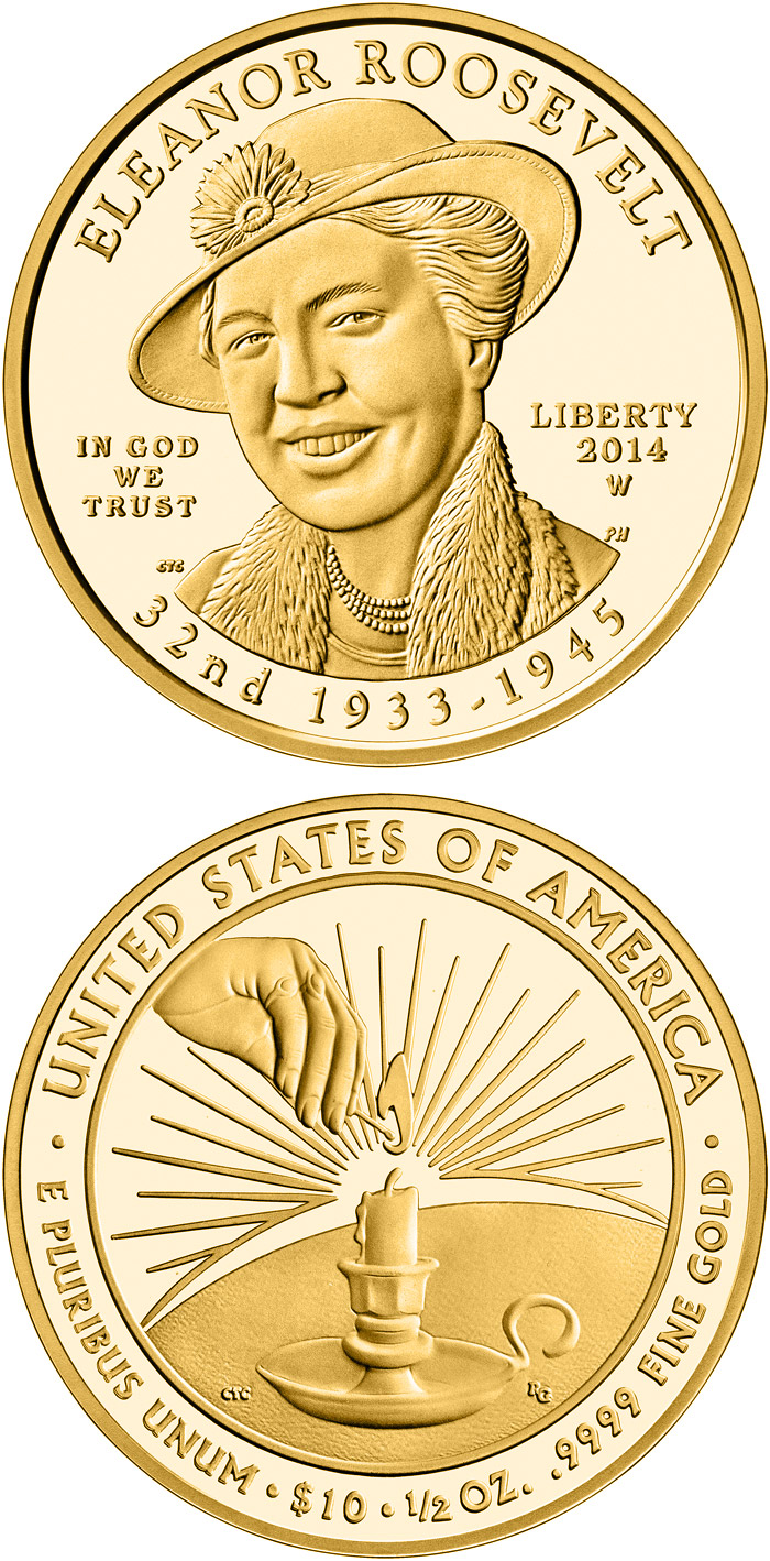 Image of Anna Eleanor Roosevelt  – 10 dollar coin USA 2014.  The Gold coin is of Proof, BU quality.