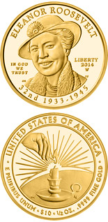 10 dollar coin Anna Eleanor Roosevelt  | USA 2014