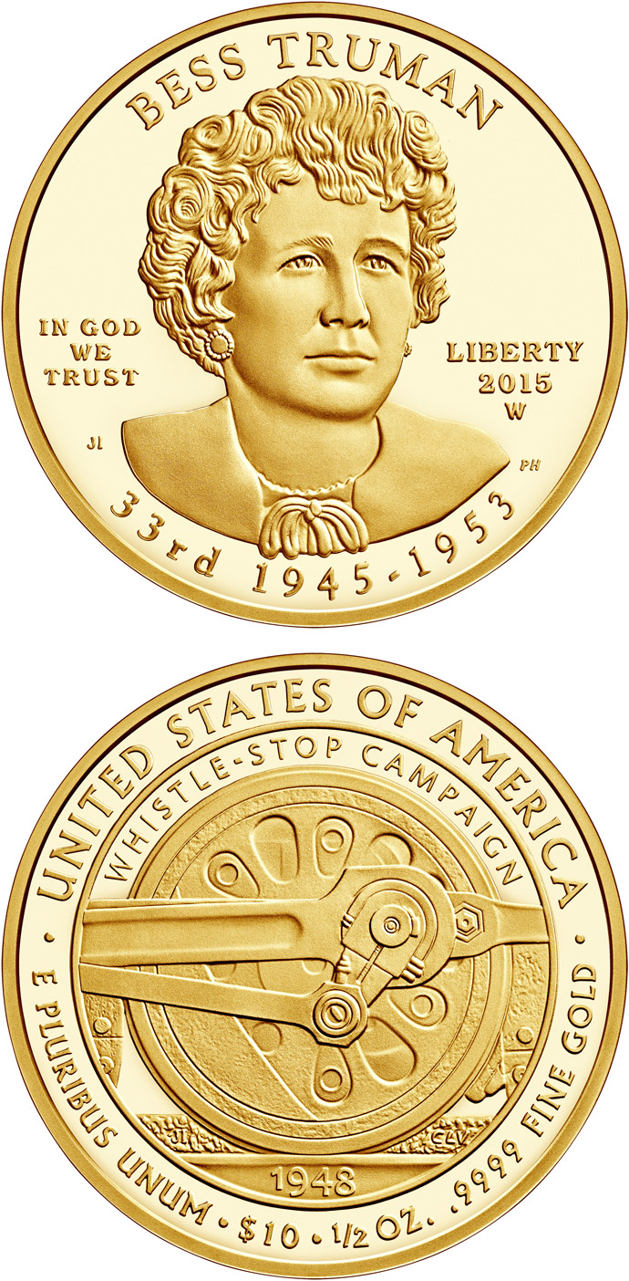 Image of 10 dollars coin - Elizabeth Truman  | USA 2015.  The Gold coin is of Proof, BU quality.