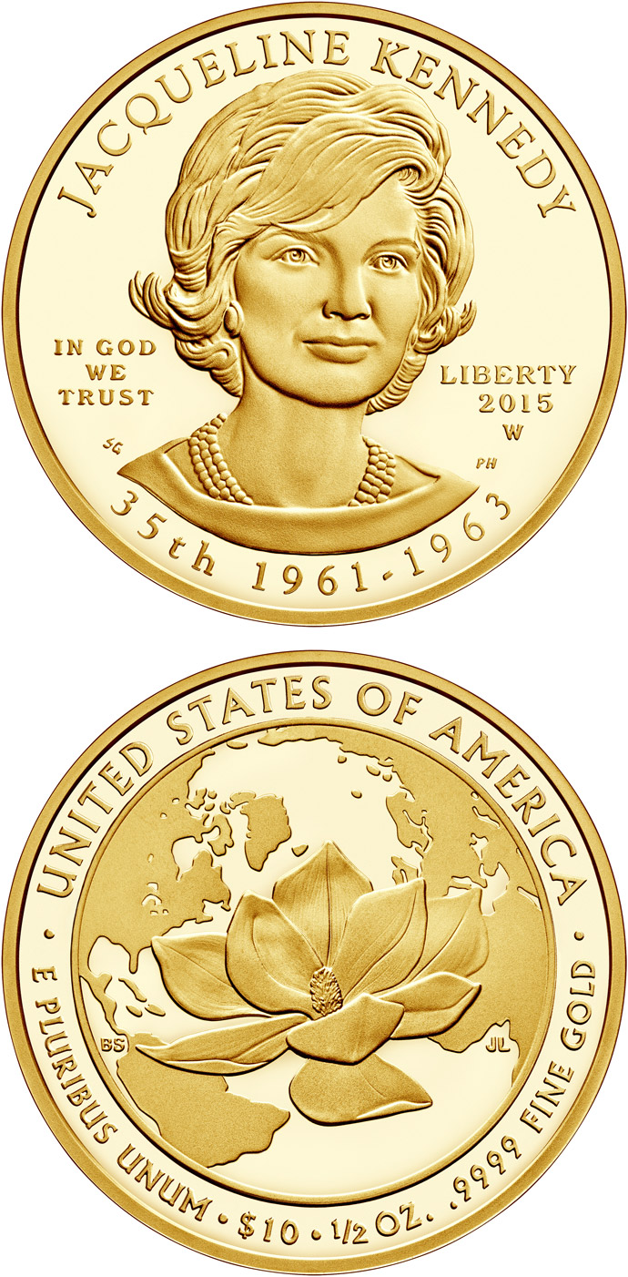 Image of 10 dollars coin – Jacqueline Kennedy  | USA 2015.  The Gold coin is of Proof, BU quality.