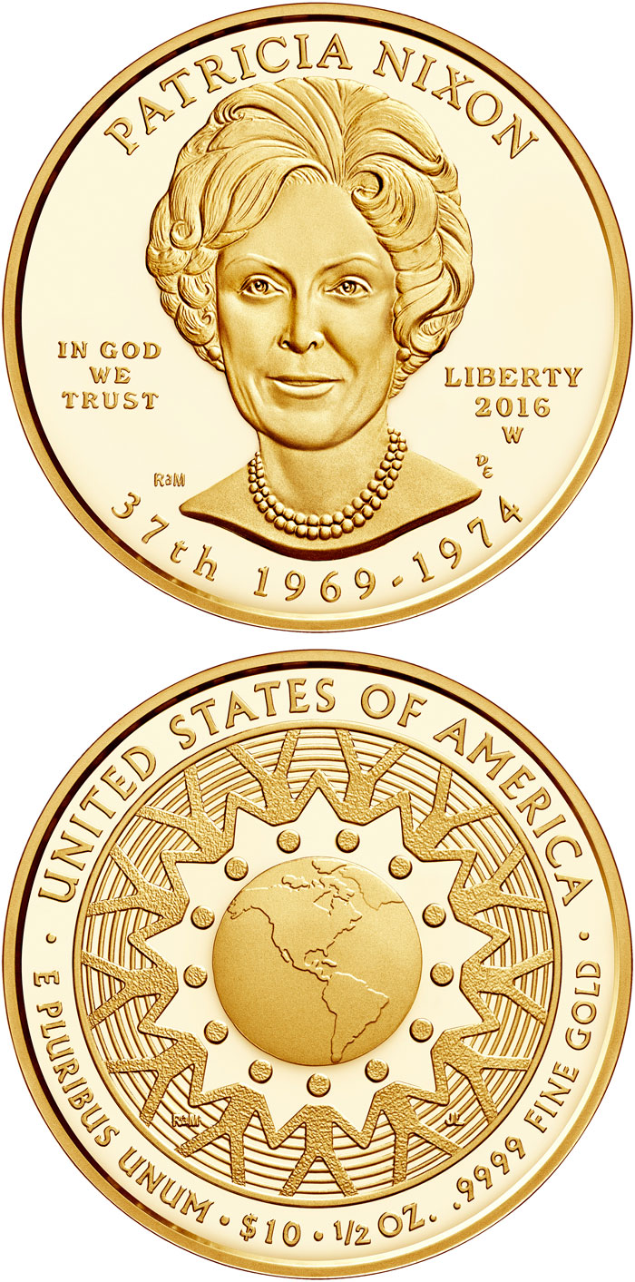 Image of 10 dollars coin – Patricia Ryan (Pat) Nixon  | USA 2016.  The Gold coin is of Proof, BU quality.
