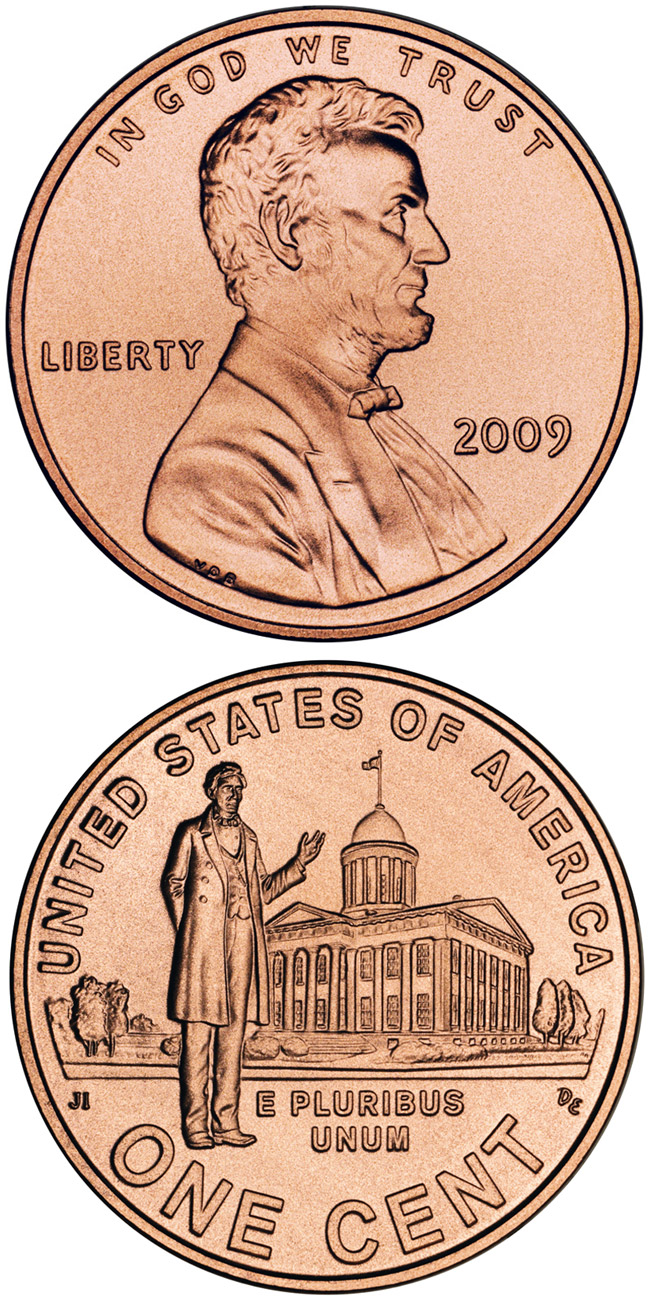 Image of 1 cent coin - Lincoln – Professional Life in Illinois  | USA 2009