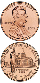 1 cent coin Lincoln – Professional Life in Illinois  | USA 2009