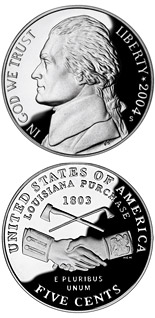 5 cent Louisiana Purchase/Peace Medal  - 2004 - Series: Commemorative cent coins - USA