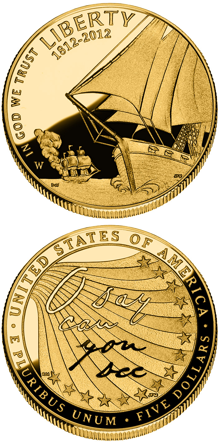 Image of 5 dollars coin - The Star-Spangled Banner  | USA 2012.  The Gold coin is of Proof, BU quality.