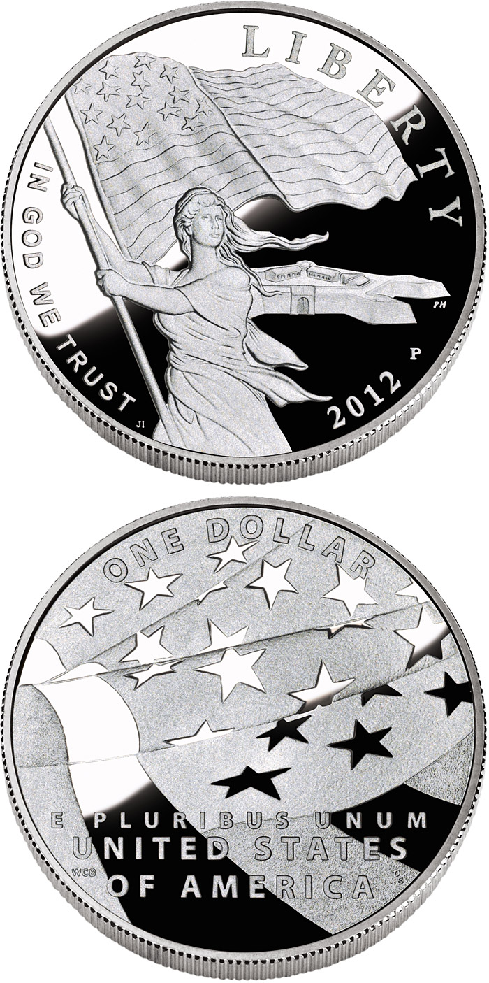 Image of 1 dollar coin - The Star-Spangled Banner  | USA 2012.  The Silver coin is of Proof, BU quality.