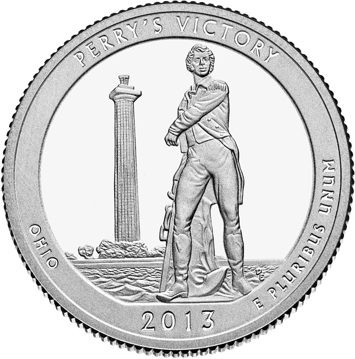 Image of 25 cents coin - Perry's Victory and International Peace Memorial  | USA 2013.  The Copper–Nickel (CuNi) coin is of Proof, BU, UNC quality.