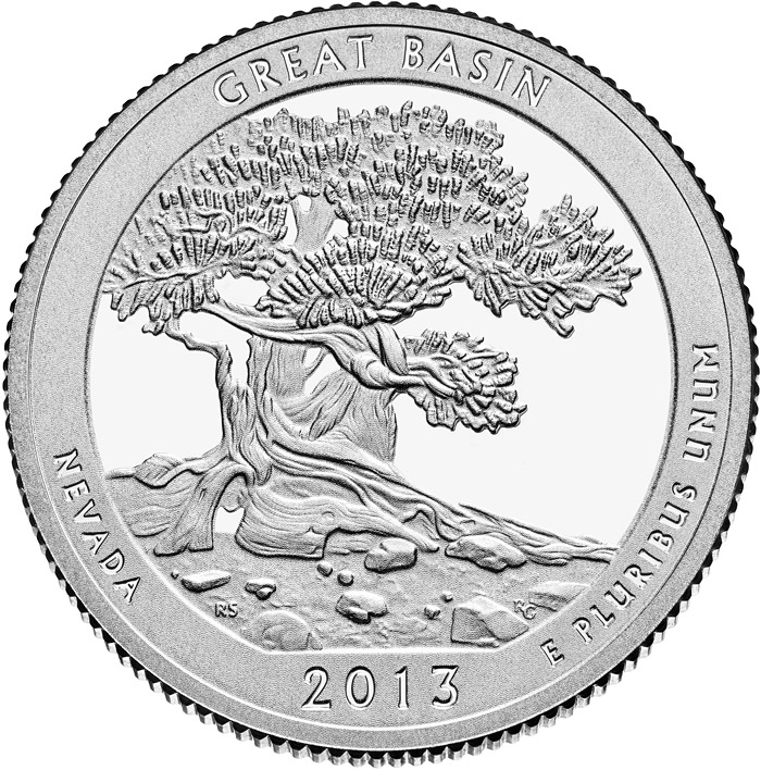Image of 25 cents coin - Great Basin National Park  | USA 2013.  The Copper–Nickel (CuNi) coin is of Proof, BU, UNC quality.