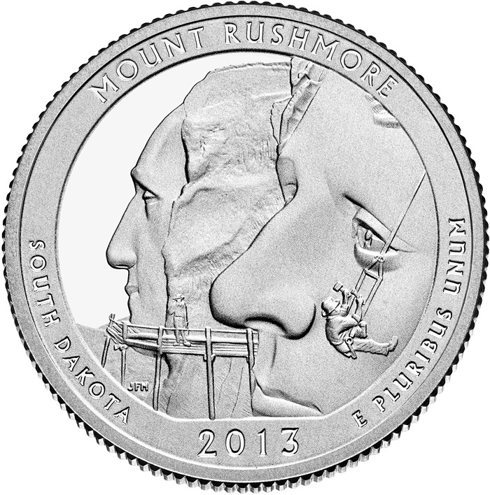 25 Cents Coin Mount Rushmore National Memorial Usa 2013