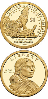 1 dollar coin The Delaware Treaty (1778) | USA 2013