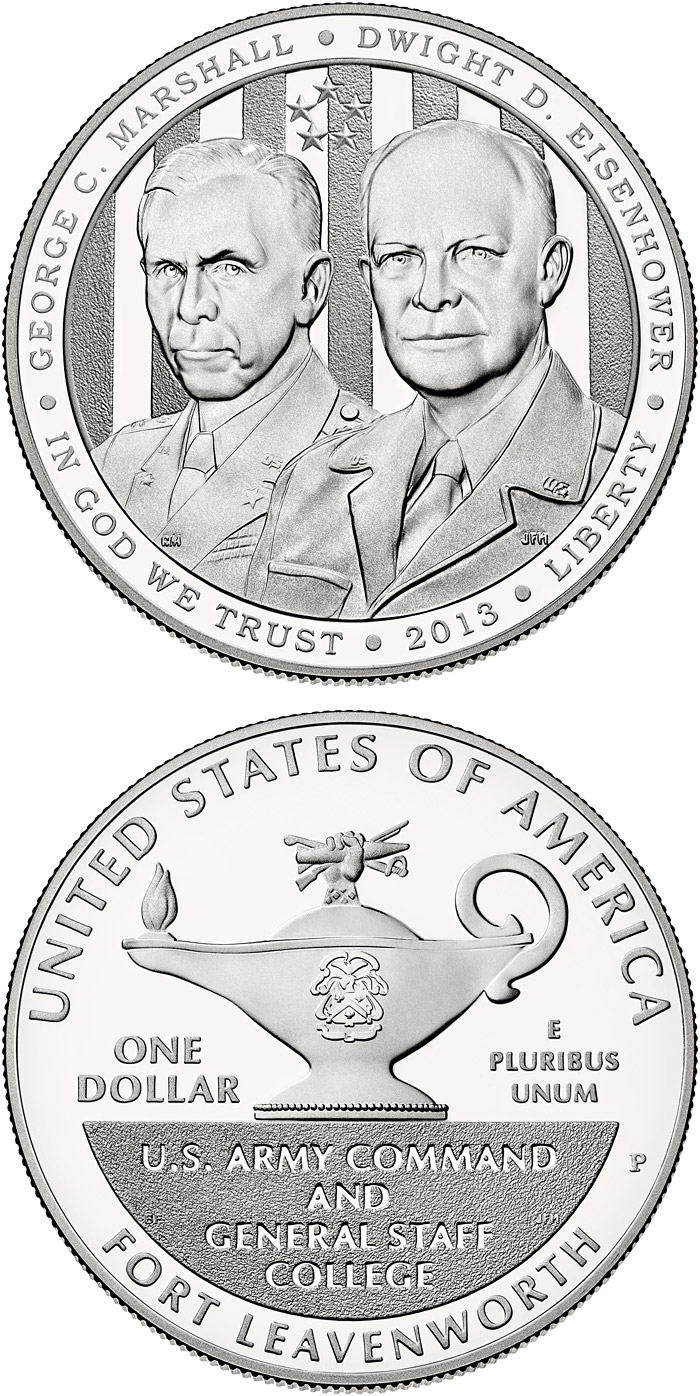 Image of 1 dollar coin - 5-Star Generals | USA 2013.  The Silver coin is of Proof, BU quality.