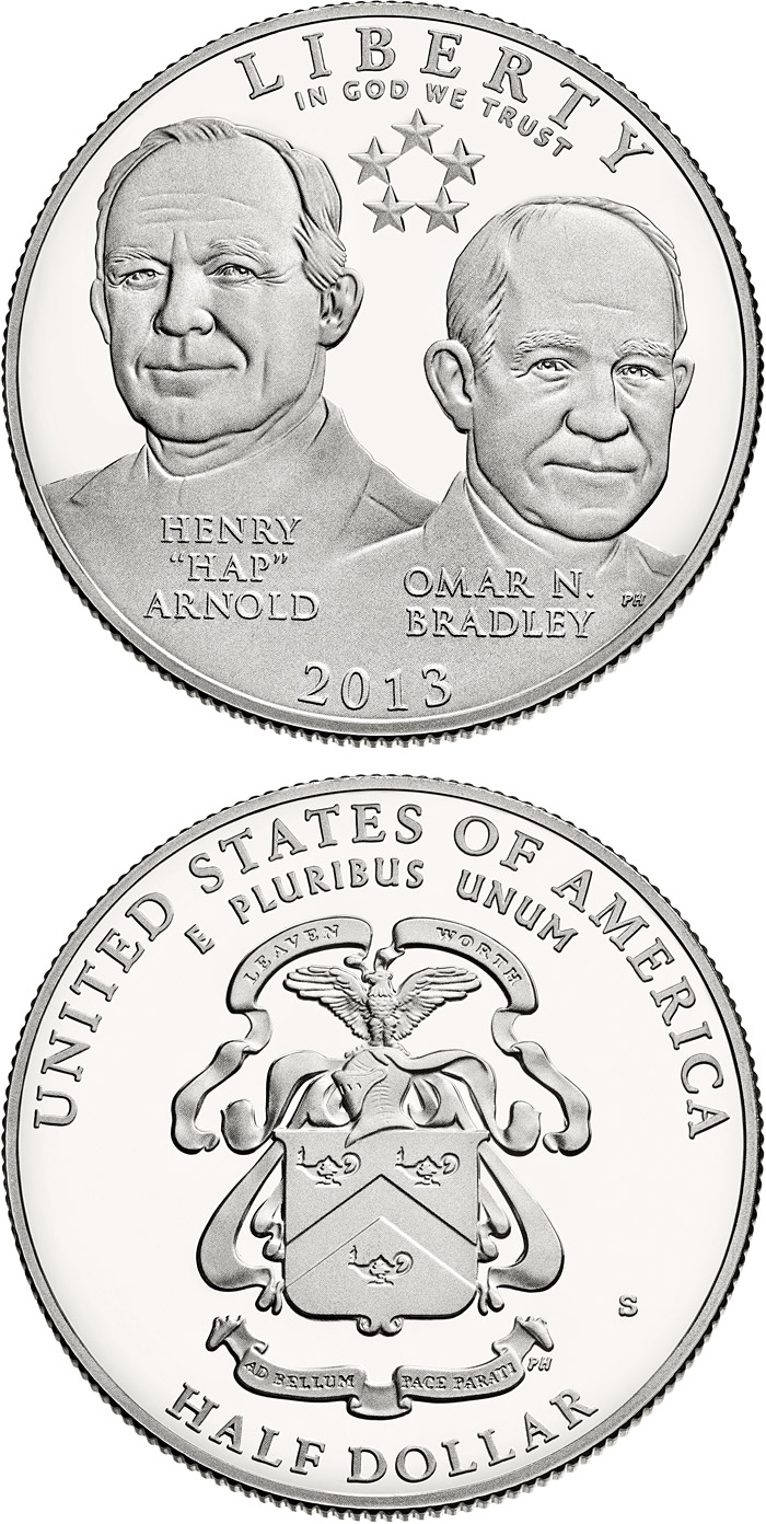 Image of 0.5 dollar coin - 5-Star Generals | USA 2013.  The Copper–Nickel (CuNi) coin is of Proof, BU quality.