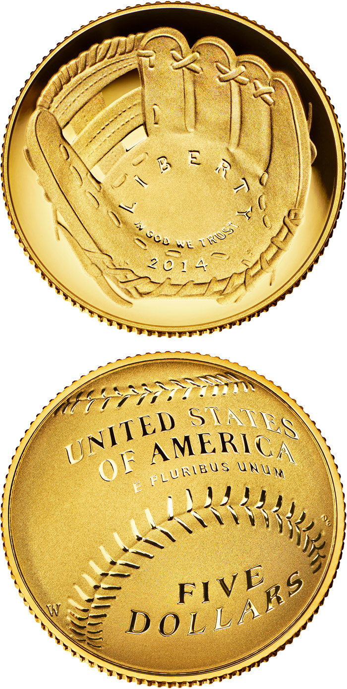 Image of 5 dollars coin - National Baseball Hall of Fame | USA 2014.  The Gold coin is of Proof, BU quality.