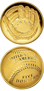 5 dollar coin National Baseball Hall of Fame | USA 2014