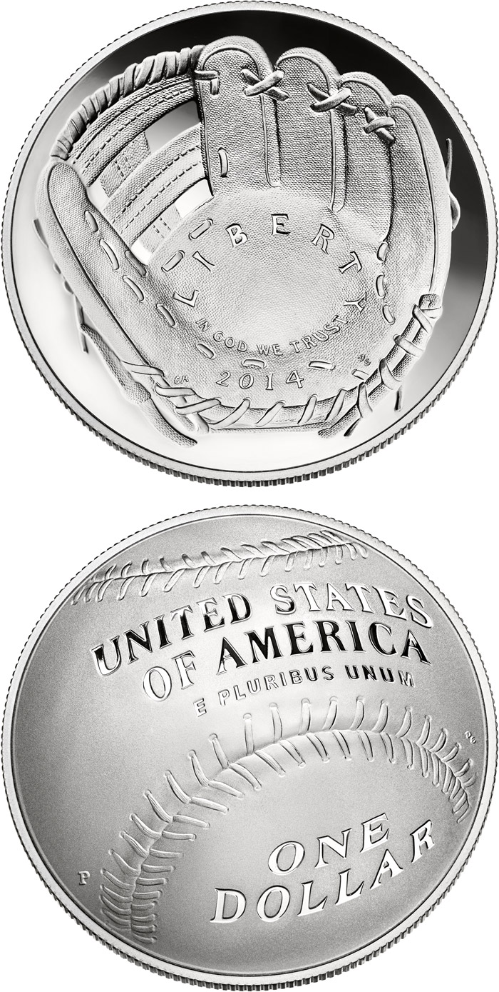 Image of 1 dollar coin - National Baseball Hall of Fame | USA 2014.  The Silver coin is of Proof, BU quality.