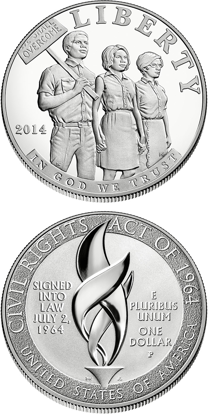 Image of 1 dollar coin - 2014 Civil Rights Act of 1964 | USA 2014.  The Silver coin is of Proof, BU quality.