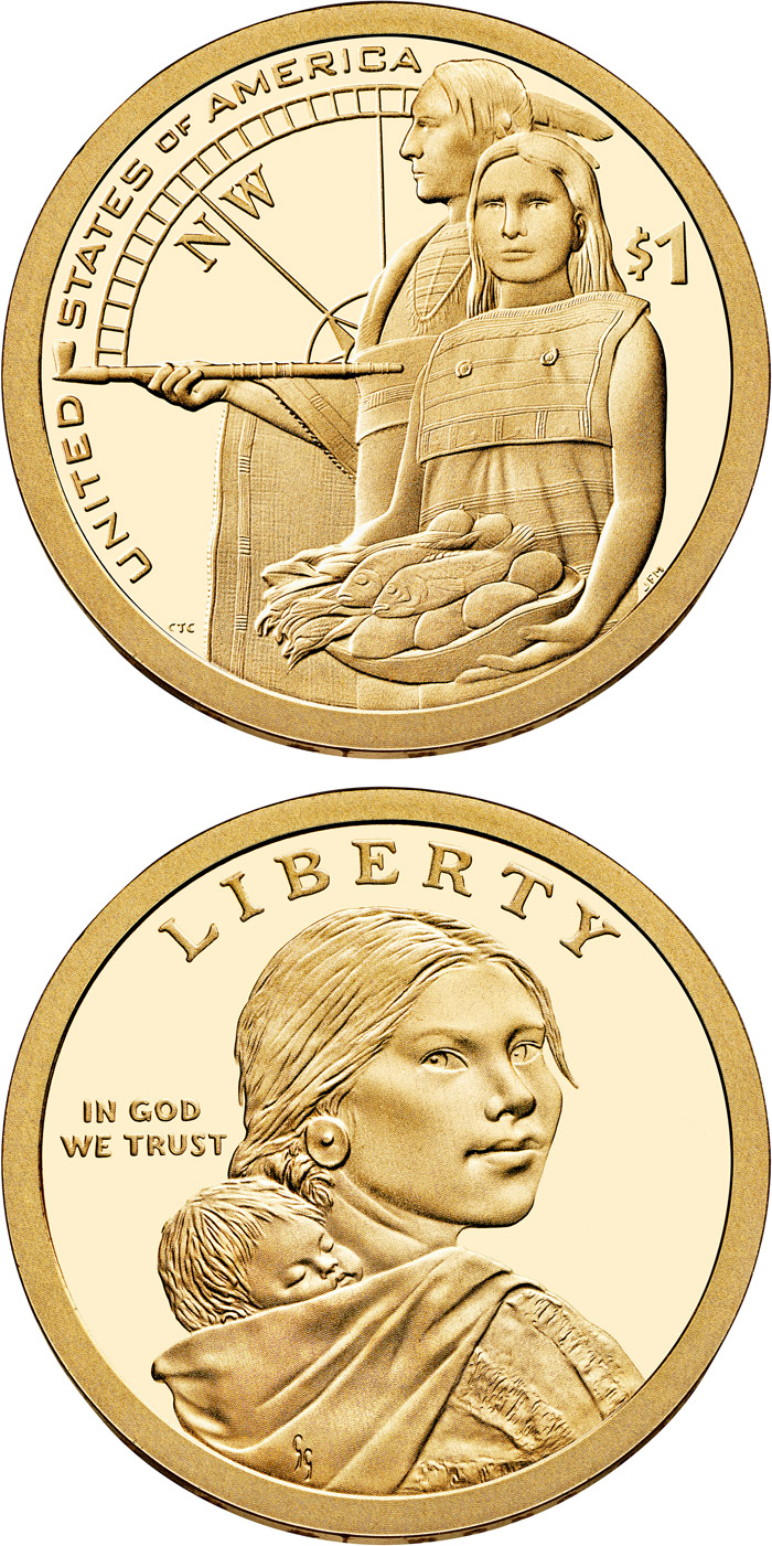 Image of 1 dollar coin - Native Hospitality Ensured the Success of the Lewis and Clark Expedition  | USA 2014.  The Nordic gold (CuZnAl) coin is of Proof, UNC quality.