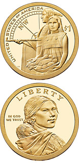 1 dollar Native Hospitality Ensured the Success of the Lewis and Clark Expedition  - 2014 - Series: Native American Dollar Coin Program - USA