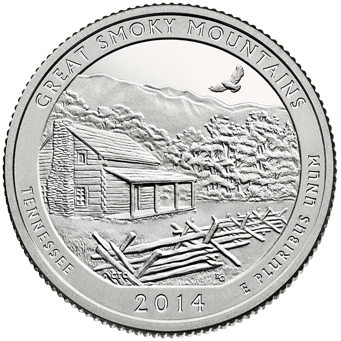 Image of 25 cents coin - Great Smoky Mountains National Park  | USA 2014.  The Copper–Nickel (CuNi) coin is of Proof, BU, UNC quality.