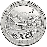 25 cents coin Great Smoky Mountains National Park  | USA 2014