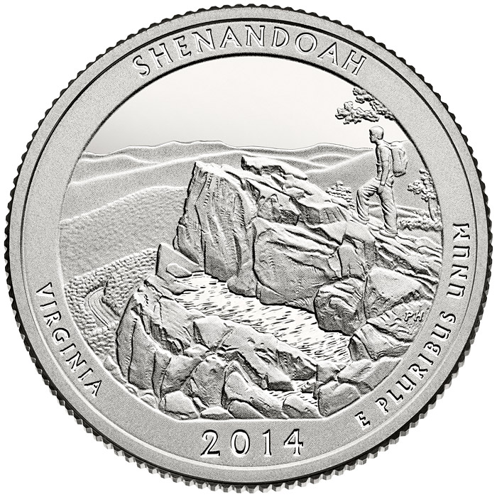 Image of a coin 25 cents | USA | Shenandoah National Park  | 2014