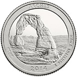 25 cents Arches National Park  - 2014 - Series: America the Beautiful Quarters - USA