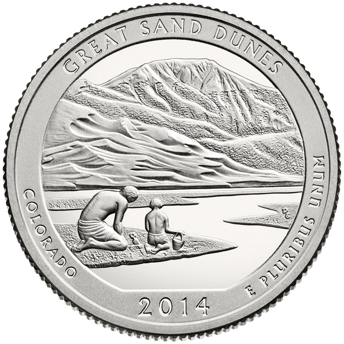 Image of 25 cents coin - Great Sand Dunes National Park  | USA 2014.  The Copper–Nickel (CuNi) coin is of Proof, BU, UNC quality.