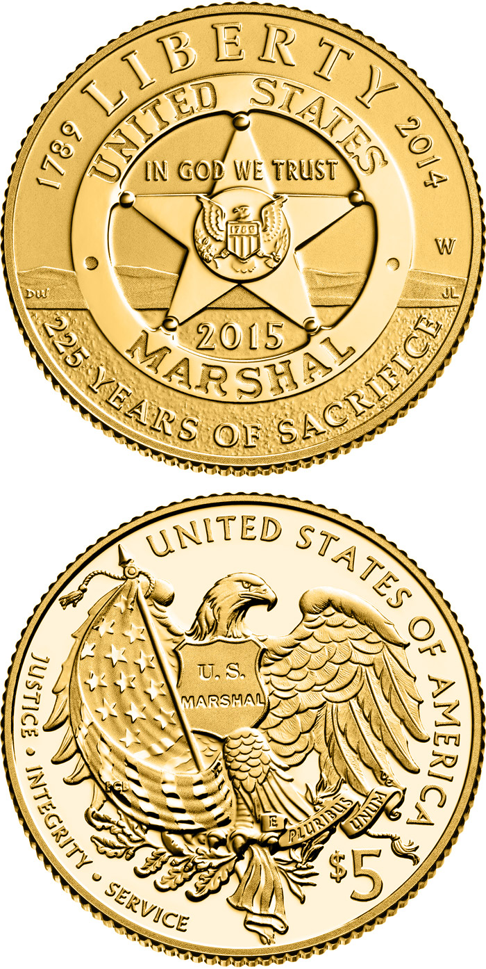 Image of 5 dollars coin - 2015 U.S. Marshals Service 225th Anniversary | USA 2015.  The Gold coin is of Proof, BU quality.