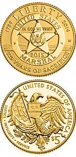 5 dollars 2015 U.S. Marshals Service 225th Anniversary - 2015 - Series: Commemorative gold dollar coins - USA
