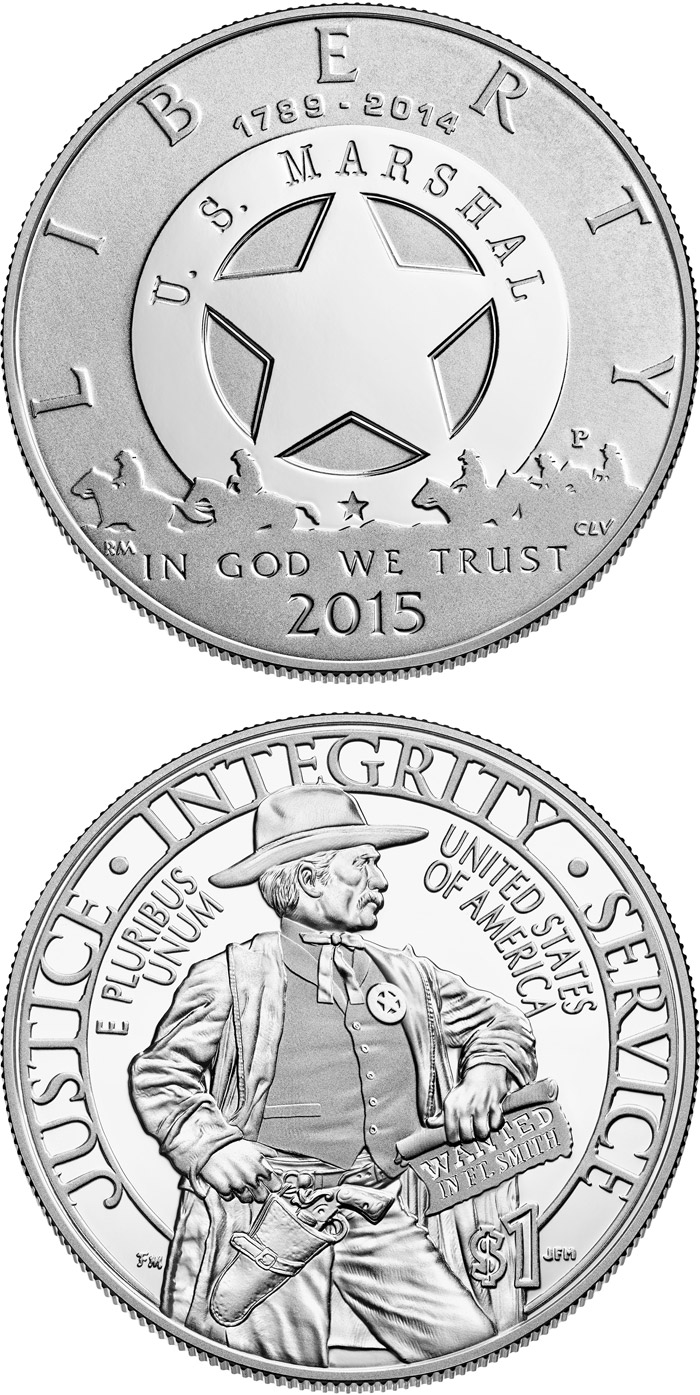 Image of 1 dollar coin 2015 U.S. Marshals Service 225th Anniversary | USA 2015.  The Silver coin is of Proof, BU quality.