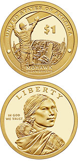 1 dollar coin Mohawk high iron workers, builders of New York City and other skylines (from 1886) | USA 2015