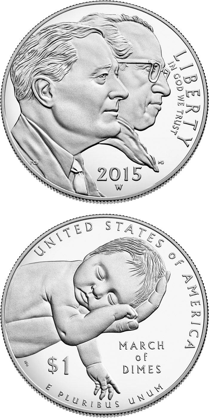 Image of a coin 1 dollar | USA | March of Dimes  | 2015