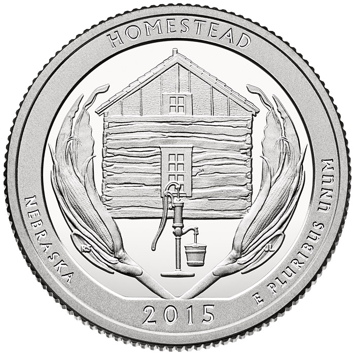 Image of 25 cents coin - Homestead National Monument of America | USA 2015.  The Copper–Nickel (CuNi) coin is of Proof, BU, UNC quality.