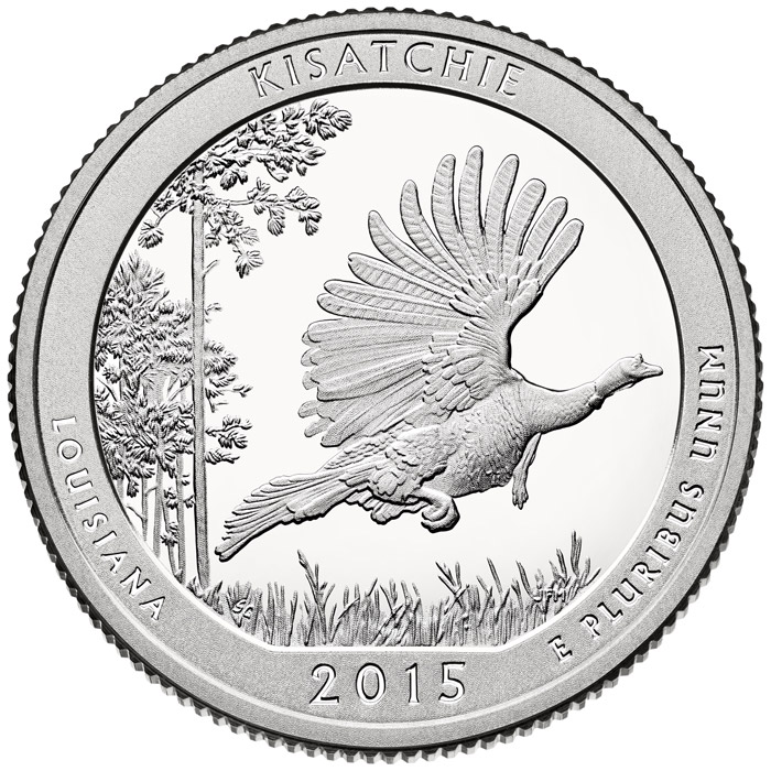 Image of 25 cents coin - Kisatchie National Forest | USA 2015.  The Copper–Nickel (CuNi) coin is of Proof, BU, UNC quality.