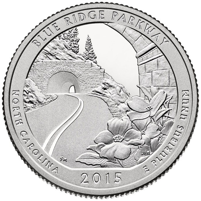 25 Cents Coin Blue Ridge Parkway Usa 2015