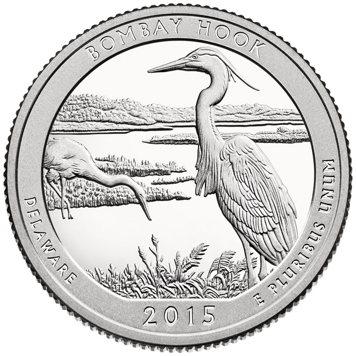 Image of 25 cents coin - Bombay Hook National Wildlife Refuge | USA 2015.  The Copper–Nickel (CuNi) coin is of Proof, BU, UNC quality.