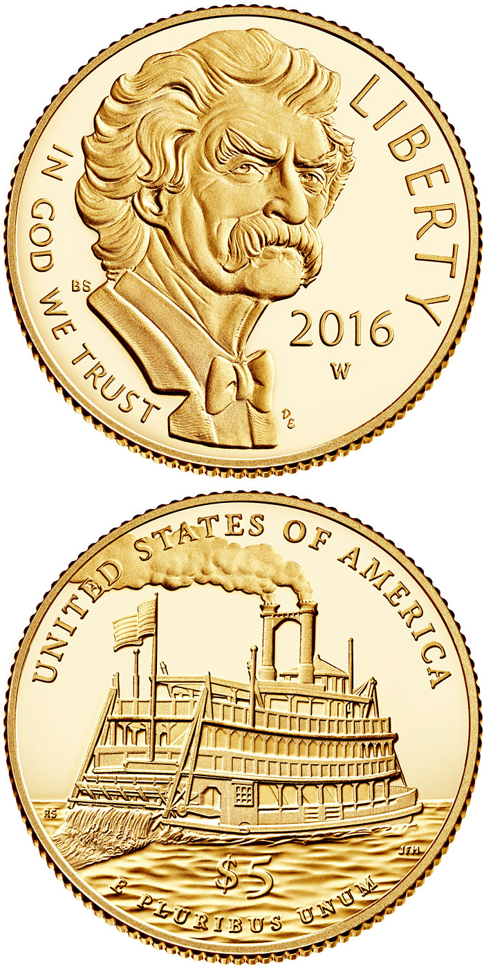 Image of 5 dollars coin - Mark Twain  | USA 2016.  The Gold coin is of Proof, BU quality.