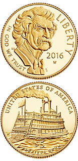5 dollar coin Mark Twain  | USA 2016